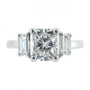 2.11ct Radiant Cut Diamond Three-Stone Engagement Ring