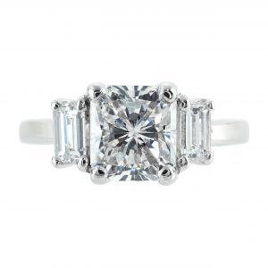 2.11ct Radiant Cut Diamond Three-Stone Engagement Ring