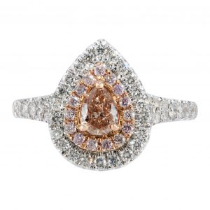 Double Halo Pear Shape Pink Diamond Ring