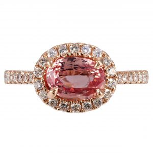 1.52ct Oval Padparadscha & Diamond East-West Ring