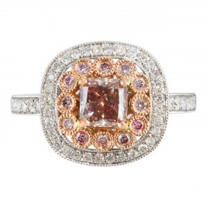 Cushion Shape Double Halo Pink Diamond Ring