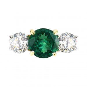 2.25ct Round Emerald & Diamond Three-Stone Ring