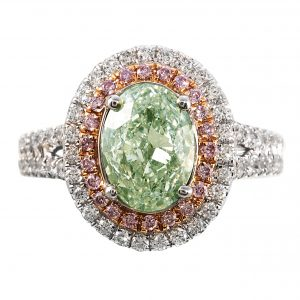 2.01ct Oval Cut Fancy Green Diamond Double Halo Ring